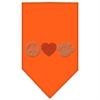 Mirage Pet Products Peace Love Paw Rhinestone Bandana Orange Large