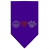 Mirage Pet Products Peace Love Paw Rhinestone Bandana Purple Large