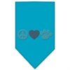 Mirage Pet Products Peace Love Paw Rhinestone Bandana Turquoise Large