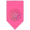 Mirage Pet Products Rainbow Peace Flower Rhinestone Bandana Bright Pink Small