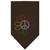 Mirage Pet Products Rainbow Peace Flower Rhinestone Bandana Cocoa Large