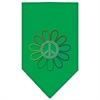 Mirage Pet Products Rainbow Peace Flower Rhinestone Bandana Emerald Green Large