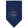 Mirage Pet Products Rainbow Peace Flower Rhinestone Bandana Navy Blue large