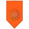 Mirage Pet Products Rainbow Peace Flower Rhinestone Bandana Orange Large