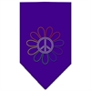 Mirage Pet Products Rainbow Peace Flower Rhinestone Bandana Purple Small