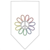 Mirage Pet Products Rainbow Peace Flower Rhinestone Bandana White Large