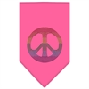 Mirage Pet Products Rainbow Peace Sign Rhinestone Bandana Bright Pink Large