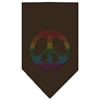 Mirage Pet Products Rainbow Peace Sign Rhinestone Bandana Cocoa Large