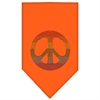 Mirage Pet Products Rainbow Peace Sign Rhinestone Bandana Orange Large