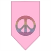 Mirage Pet Products Rainbow Peace Sign Rhinestone Bandana Light Pink Large