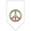 Mirage Pet Products Rasta Peace Rhinestone Bandana White Large