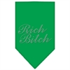 Mirage Pet Products Rich Bitch Rhinestone Bandana Emerald Green Small
