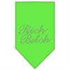 Mirage Pet Products Rich Bitch Rhinestone Bandana Lime Green Large