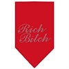 Mirage Pet Products Rich Bitch Rhinestone Bandana Red Small