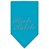 Mirage Pet Products Rich Bitch Rhinestone Bandana Turquoise Small
