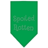 Mirage Pet Products Spoiled Rotten Rhinestone Bandana Emerald Green Small