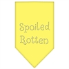Mirage Pet Products Spoiled Rotten Rhinestone Bandana Yellow Large