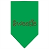 Mirage Pet Products Sweetie Rhinestone Bandana Emerald Green Small