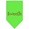 Mirage Pet Products Sweetie Rhinestone Bandana Lime Green Small