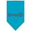 Mirage Pet Products Sweetie Rhinestone Bandana Turquoise Large