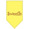 Mirage Pet Products Sweetie Rhinestone Bandana Yellow Large