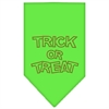 Mirage Pet Products Trick or Treat Rhinestone Bandana Lime Green Small