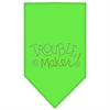 Mirage Pet Products Trouble Maker Rhinestone Bandana Lime Green Large
