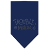 Mirage Pet Products Trouble Maker Rhinestone Bandana Navy Blue Small