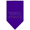 Mirage Pet Products Trouble Maker Rhinestone Bandana Purple Large