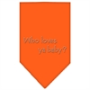 Mirage Pet Products Who Loves Ya Baby Rhinestone Bandana Orange Large
