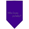 Mirage Pet Products Who Loves Ya Baby Rhinestone Bandana Purple Large