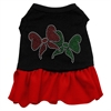 Mirage Pet Products Christmas Bows Rhinestone Dress Black with Red XXL (18)