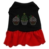 Mirage Pet Products Christmas Cupcakes Rhinestone Dress Black with Red XS (8)