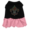 Mirage Pet Products Christmas Fleur De Lis Rhinestone Dress Black with Pink XXL (18)