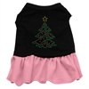 Mirage Pet Products Christmas Tree Rhinestone Dress Black with Pink XXL (18)
