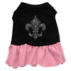 Mirage Pet Products Silver Fleur de Lis Rhinestone Dress Black with Pink XXL (18)