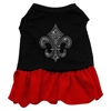 Mirage Pet Products Silver Fleur de Lis Rhinestone Dress Black with Red XL (16)
