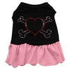 Mirage Pet Products Rhinestone Heart and crossbones Dress Black with Pink XXL (18)