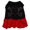 Mirage Pet Products Rhinestone Heart and crossbones Dress Black with Red Med (12)