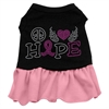 Mirage Pet Products Peace Love Hope Breast Cancer Rhinestone Pet Dress Black with Light Pink XXL (18)