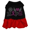 Mirage Pet Products Peace Love Hope Breast Cancer Rhinestone Pet Dress Black with Red XS (8)