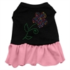 Mirage Pet Products Rhinestone Multi Flower Dress Black with Pink XS (8)