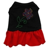 Mirage Pet Products Rhinestone Multi Flower Dress Black with Red Med (12)