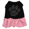 Mirage Pet Products Rhinestone Clear Paw Dress Black with Pink XXXL (20)