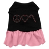Mirage Pet Products Peace Love Candy Cane Rhinestone Dress Black with Pink XS (8)