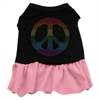Mirage Pet Products Rhinestone Rainbow Peace Dress Black with Pink XXL (18)