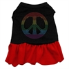 Mirage Pet Products Rhinestone Rainbow Peace Dress Black with Red XXL (18)