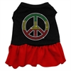 Mirage Pet Products Rhinestone Rasta Peace Dress Black with Red Med (12)