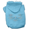 Mirage Pet Products Rhinestone Anchors Hoodies Baby Blue XXXL(20)