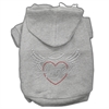 Mirage Pet Products Angel Heart Rhinestone Hoodies Grey XXXL(20)